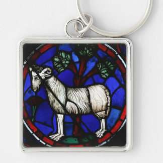 Aries 1 Astrology - Gothic Stained Glass Windows - Silver-Colored Square Keychain
