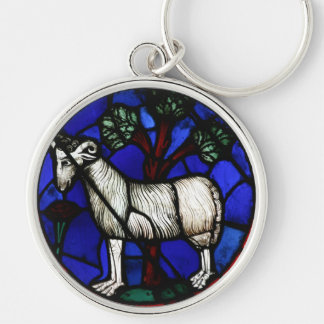 Aries 3 Astrology - Gothic Stained Glass Windows - Silver-Colored Round Keychain