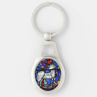 Aries 4 Astrology - Gothic Stained Glass Windows - Silver-Colored Oval Keychain