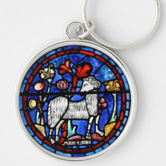 Aries 6 Astrology - Gothic Stained Glass Windows - Silver-Colored Round Keychain