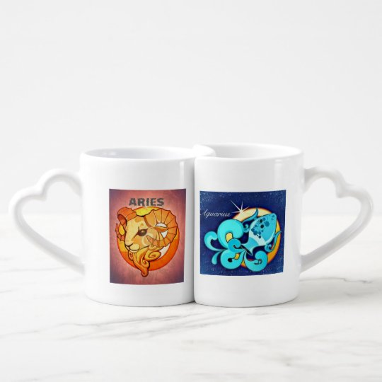 Aries and Aquarius Love Coffee Mug Set