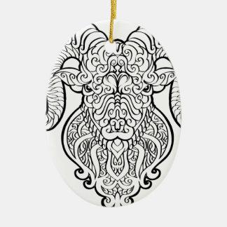 Aries Art Ceramic Oval Ornament