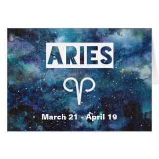 Aries Astrology Blue Watercolor Galaxy Birthday Card