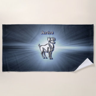 Aries chrome symbol beach towel