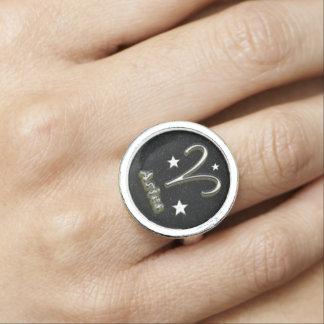 Aries chrome symbol photo ring