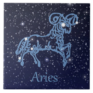 Aries Constellation and Zodiac Sign with Stars Tiles