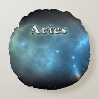 Aries constellation round pillow