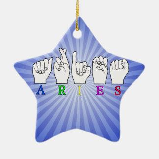 ARIES FINGERSPELLED ASL ZODIAC NAME SIGN CERAMIC ORNAMENT