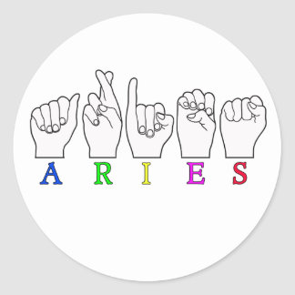 ARIES FINGERSPELLED ASL ZODIAC NAME SIGN CLASSIC ROUND STICKER