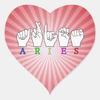 ARIES FINGERSPELLED ASL ZODIAC NAME SIGN HEART STICKER