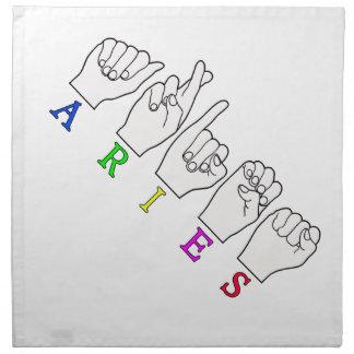 ARIES FINGERSPELLED ASL ZODIAC NAME SIGN NAPKIN