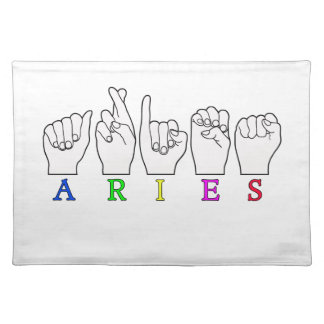 ARIES FINGERSPELLED ASL ZODIAC NAME SIGN PLACEMAT