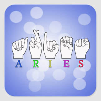 ARIES FINGERSPELLED ASL ZODIAC NAME SIGN SQUARE STICKER