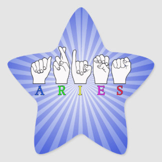 ARIES FINGERSPELLED ASL ZODIAC NAME SIGN STAR STICKER