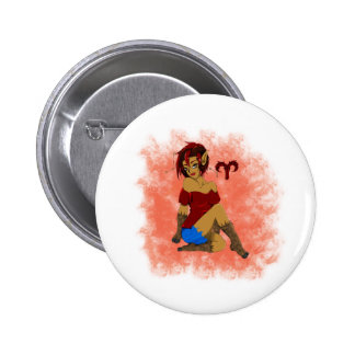 Aries Girl 2 Inch Round Button