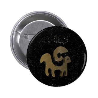 Aries golden sign 2 inch round button