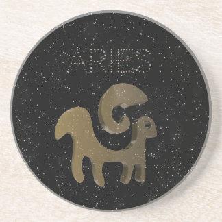 Aries golden sign coaster