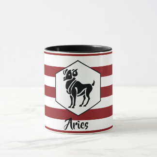 Aries Horoscope Silhouette on Dark Red Stripe Mug
