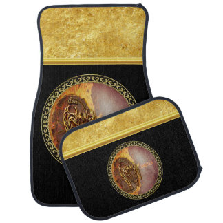 Aries Horoscope with gold foil texture with black Car Mat