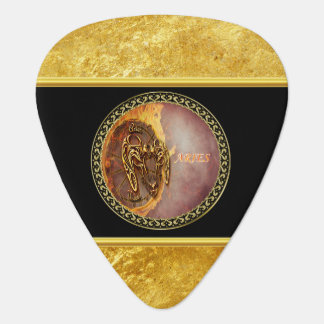 Aries Horoscope with gold foil texture with black Guitar Pick
