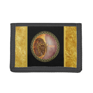 Aries Horoscope with gold foil texture with black Trifold Wallet