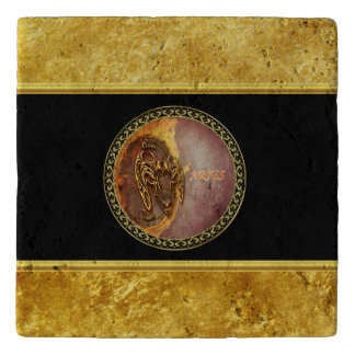 Aries Horoscope with gold foil texture with black Trivet