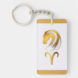 Aries Horse Chinese Western Astrology Double-Sided Rectangular Acrylic Keychain