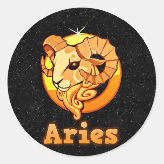 Aries illustration classic round sticker