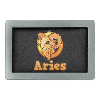 Aries illustration rectangular belt buckle