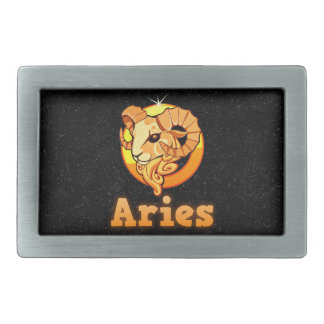Aries illustration rectangular belt buckles