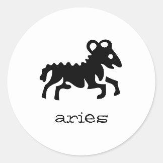 Aries in black classic round sticker