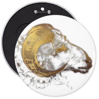 Aries Ram with Golden Horns Astrology Button