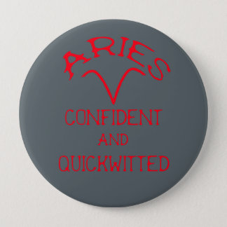Aries (Red Text) 4 Inch Round Button