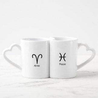 Aries sheep & Pisces the fish Zodiac Astrology Coffee Mug Set