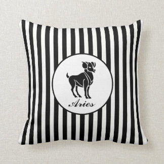 ARIES Star Sign Black And White Stripes Pattern Throw Pillow