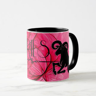Aries Star Sign Zodiac Mug in Pink and Black