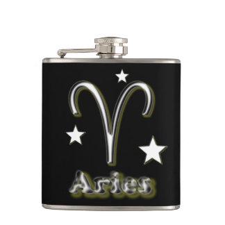 Aries symbol hip flask