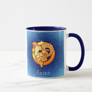 Aries, The Ram, Horoscope Sign Blue Coffee Mug