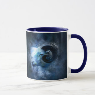Aries The Ram, Horoscope Sign Blue Coffee Mug