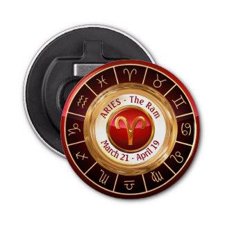 Aries - The Ram Zodiac Sign Button Bottle Opener