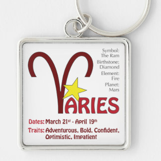 Aries Traits Square Silver-Colored Square Keychain