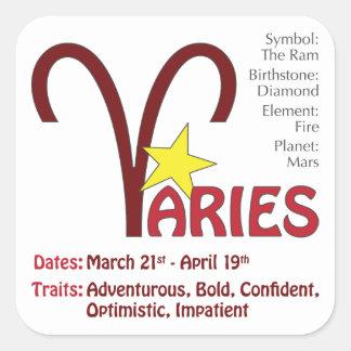 Aries Traits Square Square Sticker