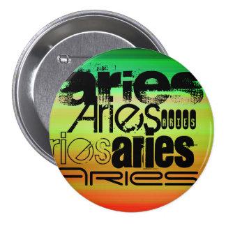 Aries; Vibrant Green, Orange, & Yellow 3 Inch Round Button