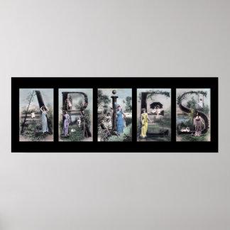 ARIES Vintage Alphabet Letter Zodiac Art Poster