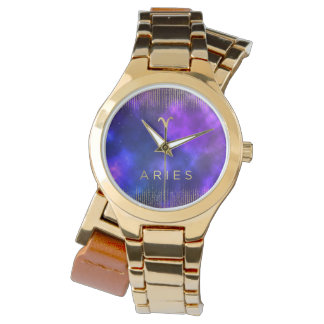 Aries Zodiac Custom Gold Wrap-Around Watch