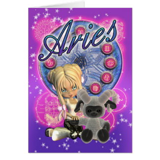 Aries Zodiac Cute Card With Female And Ram