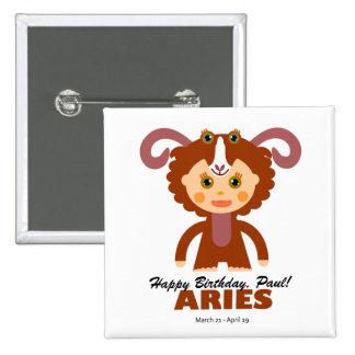 Aries Zodiac for Kids 2 Inch Square Button