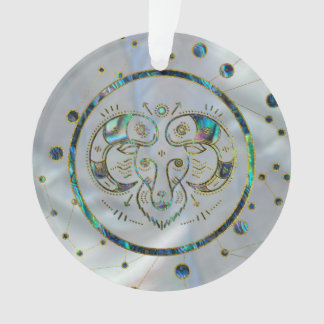 Aries Zodiac Gold Abalone on Constellation Ornament