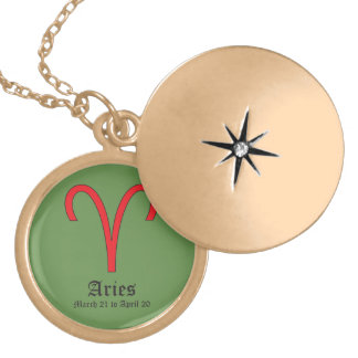 Aries zodiac sign locket necklace
