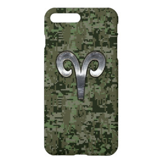 Aries Zodiac Sign on Green Camo iPhone 7 Plus Case